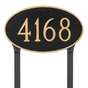 Classic Oval Large Address Sign Plaque with Lawn Stakes