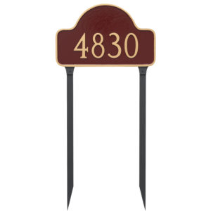 Standard One Line Lexington Arch Address Sign Plaque with Lawn Stakes