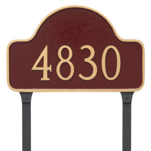 Large One Line Lexington Arch Address Sign Plaque with Lawn Stakes