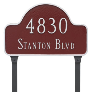 Standard Two Line Lexington Arch Address Sign Plaque with Lawn Stakes