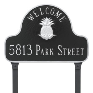 Pineapple Two Line Welcome Arch Address Sign Plaque with Lawn Stakes