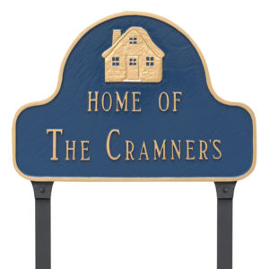 Home of Arch Address Sign Plaque with  Lawn Stakes