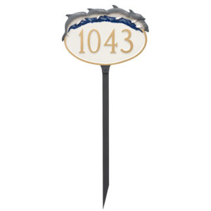 Dolphin Address Sign Plaque with Lawn Stake