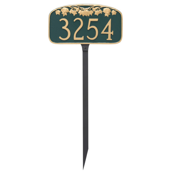Maple Leaf Address Sign Plaque with Lawn Stakes