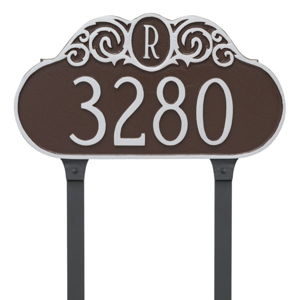 Decorative Monogram Address Sign Plaque with Lawn Stakes