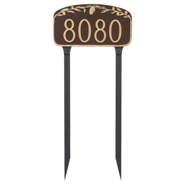 Pine Cone Address Sign Plaque with Lawn Stakes