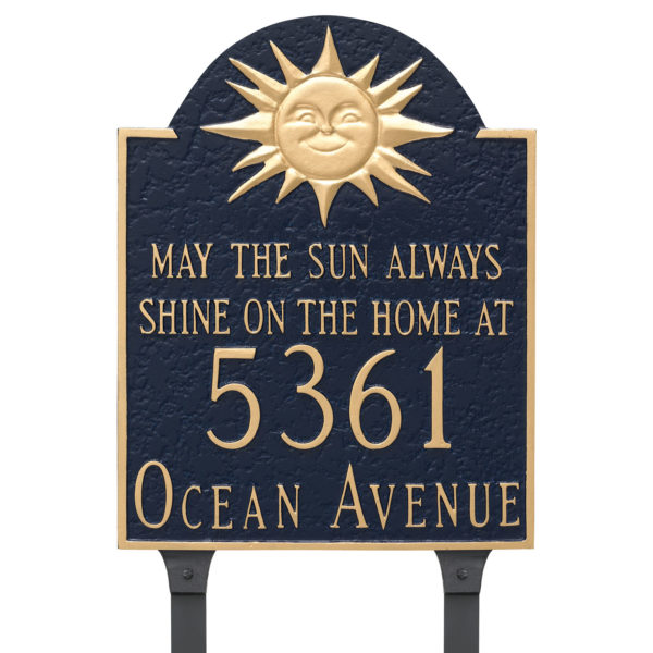 Home at Wedding Anniversary Address Sign Plaque with Lawn Stakes