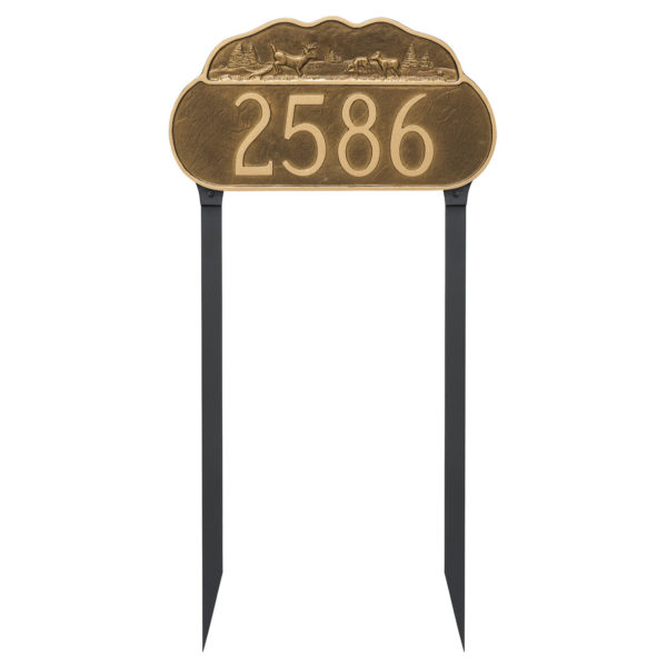 Deer Address Sign Plaque with Lawn Stakes