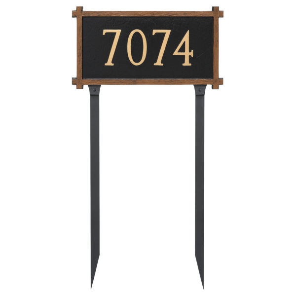 One Line Mission Oak Address Sign Plaque with Lawn Stakes