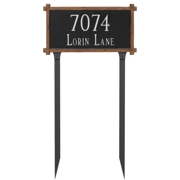 Two Line Mission Oak Address Sign Plaque with Lawn Stakes