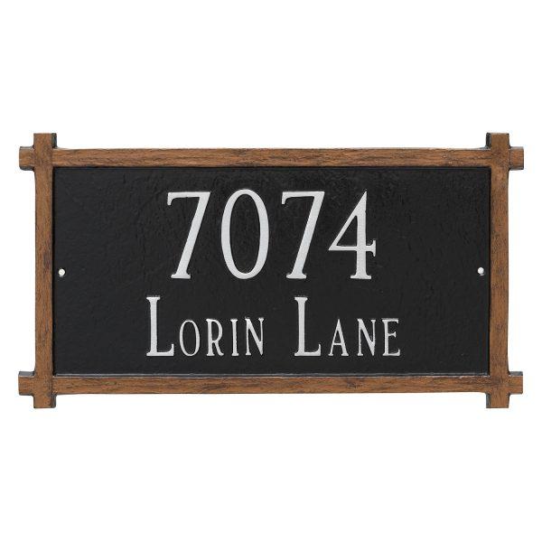 Two Line Mission Oak Address Sign Plaque