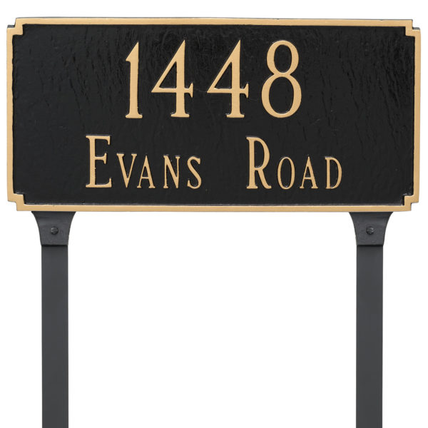 Madison Standard Two Line Address Sign Plaque with Lawn Stakes