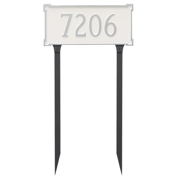 New Yorker Standard One Line Address Sign Plaque with Lawn Stakes