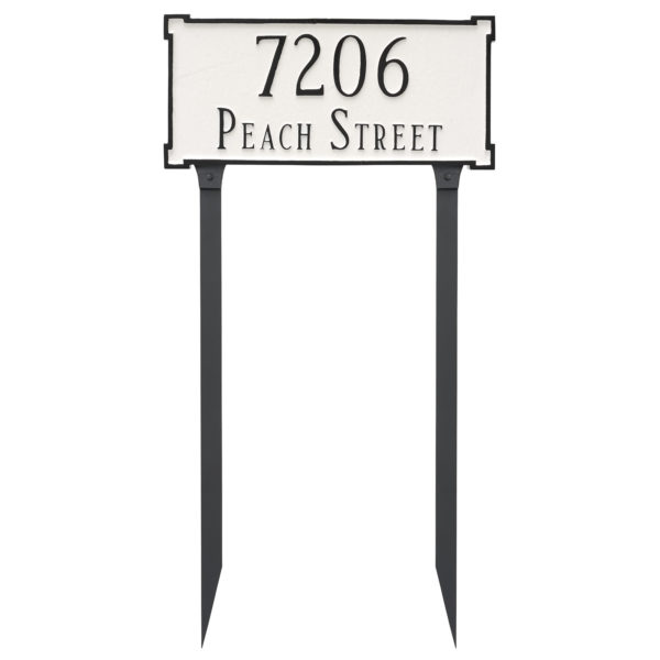 New Yorker Standard Two Line Address Sign Plaque with Lawn Stakes