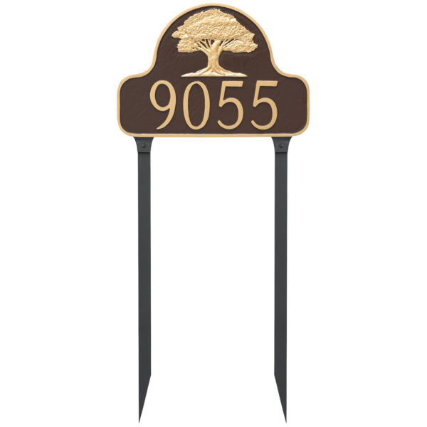 Oak Tree Arch Address Sign Plaque with Lawn Stakes