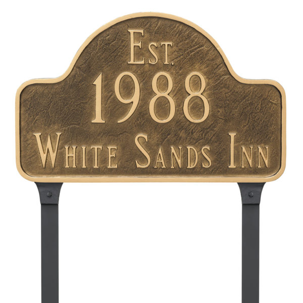 Historical Arch Address Sign Plaque with Lawn Stakes