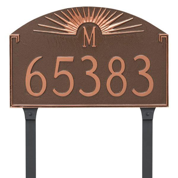 Sunburst Monogram Address Sign Plaque with Lawn Stakes
