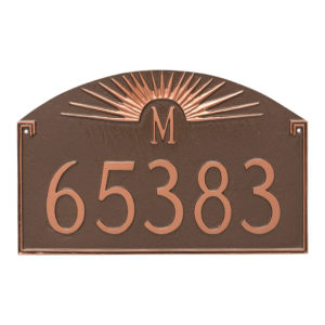 Sunburst Monogram Address Sign Plaque