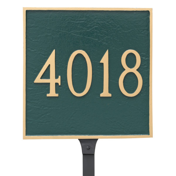 Classic Square Standard One Line Address Sign Plaque with Lawn Stakes