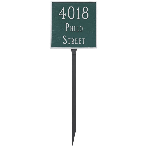Classic Square Standard Two Line Address Sign Plaque with Lawn Stakes