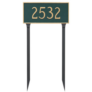 Classic Rectangle Large One Line Address Sign Plaque with Lawn Stakes
