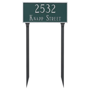 Classic Rectangle Estate Two Line Address Sign Plaque with Lawn Stakes