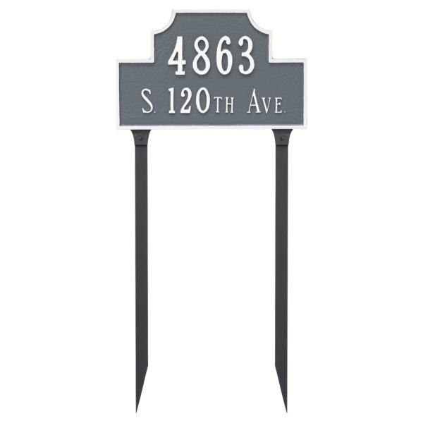 Beckford Estate Two Line Address Sign Plaque with Lawn Stakes
