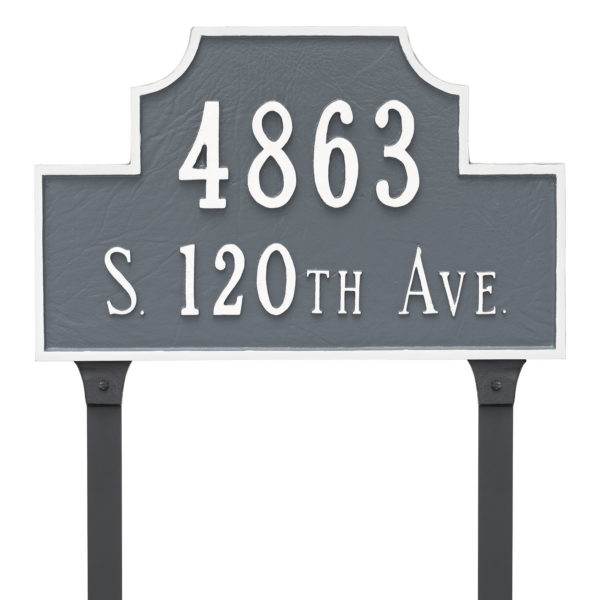 Beckford Standard Two Line Address Sign Plaque with Lawn Stakes