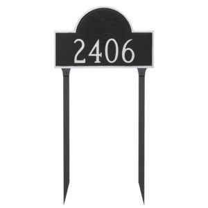 Classic Arch Large One Line Address Sign Plaque with Lawn Stakes