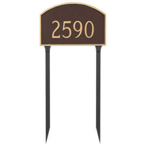 Prestige Arch Large One Line Address Sign Plaque with Lawn Stakes