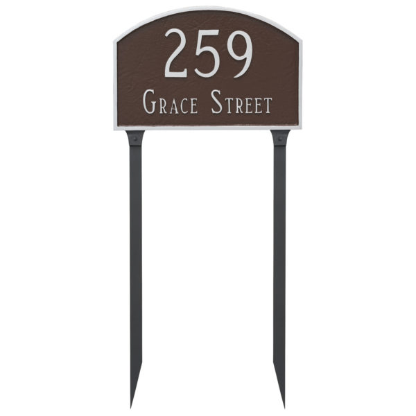 Prestige Arch Large Two Line Address Sign Plaque with Lawn Stakes