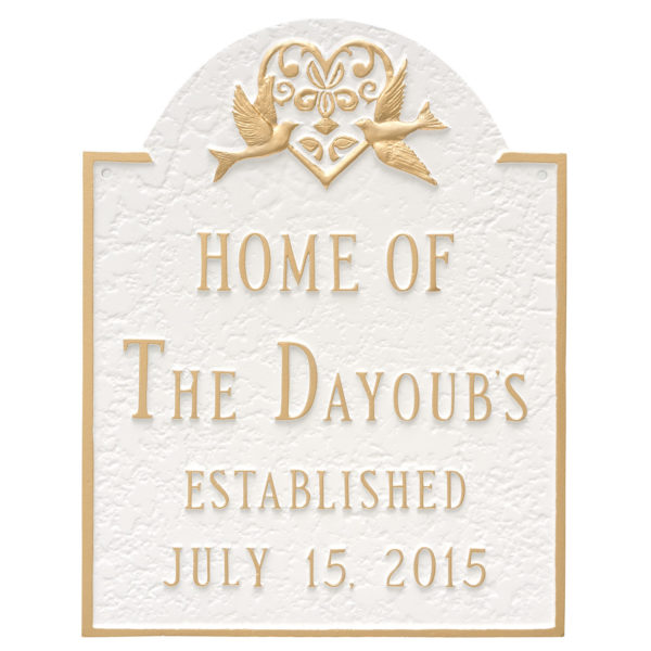 Dove and Heart Wedding Anniversary Sign Plaque