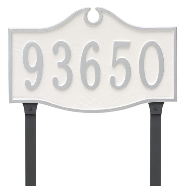 Colonial Estate One Line Address Sign Plaque with Lawn Stakes
