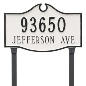 Colonial Standard Two Line Address Sign Plaque with Lawn Stakes
