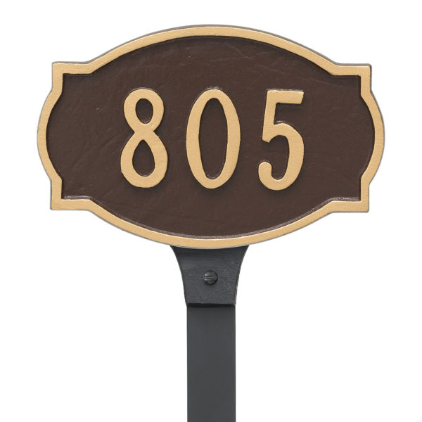 Cambridge Small Address Sign Plaque with Lawn Stake
