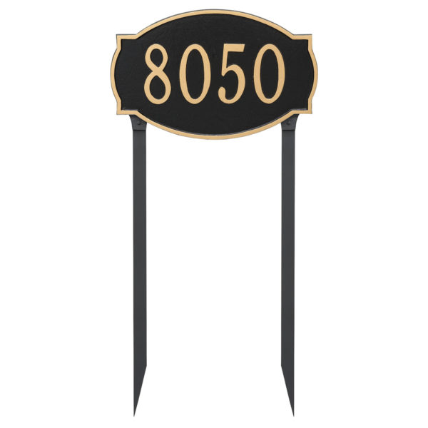 Cambridge Estate One Line Address Sign Plaque with Lawn Stakes