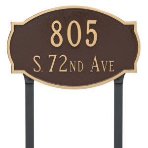 Cambridge Estate Two Line Address Sign Plaque with Lawn Stakes