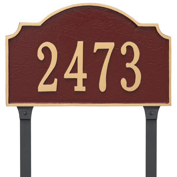 Vanderbilt Estate One Line Address Sign Plaque with Lawn Stakes