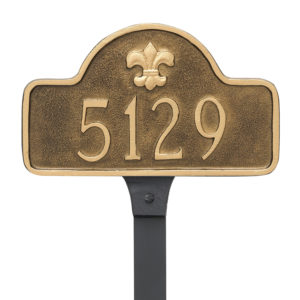 Fleur de Lis Lexington Arch Petite Address Sign Plaque with Lawn Stakes
