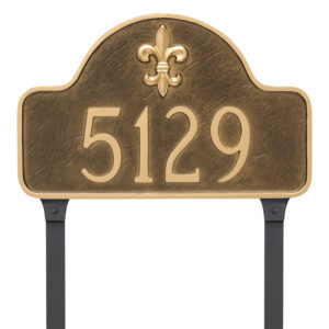 Fleur de Lis Lexington Arch Large One Line Address Sign Plaque with Lawn Stakes