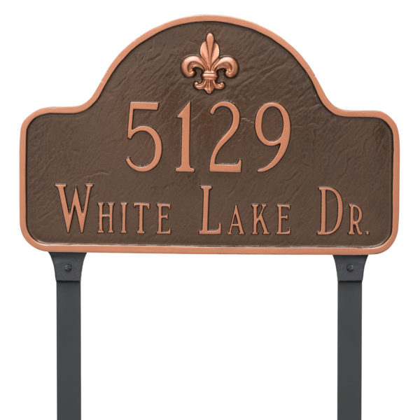 Fleur de Lis Lexington Arch Estate Two Line Address Sign Plaque with Lawn Stakes