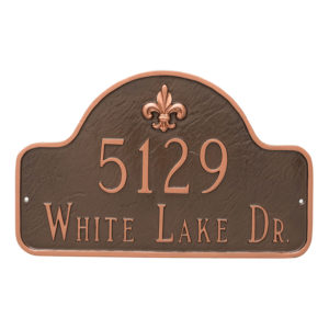 Fleur de Lis Lexington Arch Estate Two Line Address Sign Plaque