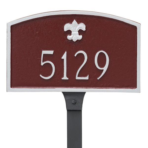 Fleur de Lis Prestige Arch Petite Address Sign Plaque with Lawn Stake