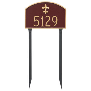 Fleur de Lis Prestige Arch Large One Line Address Sign Plaque with Lawn Stakes
