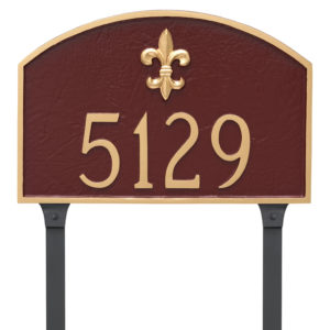 Fleur de Lis Prestige Arch Standard One Line Address Sign Plaque with Lawn Stakes