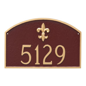 Fleur de Lis Prestige Arch Large One Line Address Sign Plaque