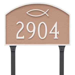 Ichthus Prestige Arch Large Address Sign Plaque with Lawn Stakes