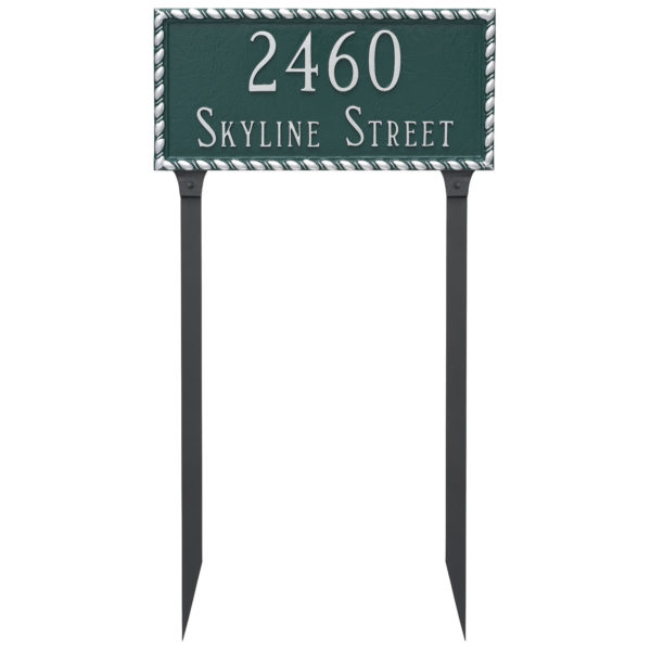Franklin Rectangle Two Line Address Sign Plaque with Stakes
