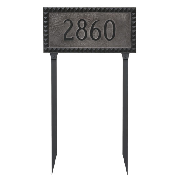 Cairo Rectangle One Line Address Sign Plaque with Lawn Stakes