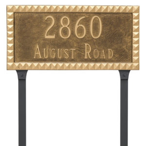 Cairo Rectangle Two Line Address Sign Plaque with Lawn Stakes